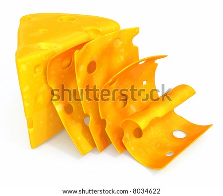 Peace of cheese sliced isolated over white background food 3d illustration