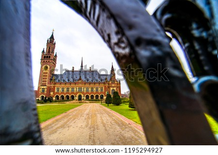 Peace Palace (Vredespaleis), an international law administrative building that houses the International Court of Justice in Hague (Den Haag), Netherlands ストックフォト ©