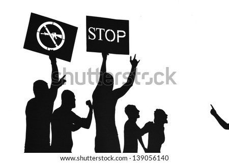 Peace protest against weapon use - silhouette illustration