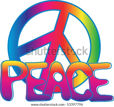 PEACE sign and PEACE text
