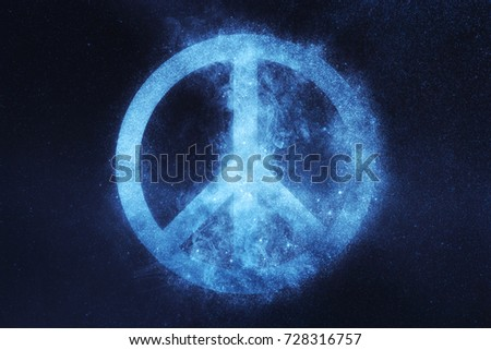 Peace sign, Peace Symbol . Abstract night sky background #728316757
