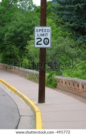 Peace Speed Limit Sign in Manitou Springs, Colorado - 1