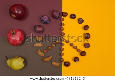 Peace symbol of in shell nuts and autumn fruits on split background #491515243