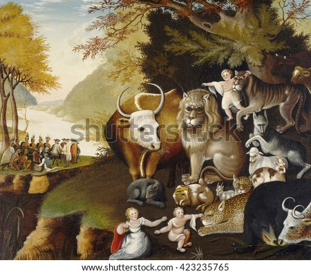 Peaceable Kingdom, by Edward Hicks, c. 1834, American painting, oil on canvas. Hicks painted 62 versions of this work, featuring animals, predator and prey, at peace and eating straw. The scene is ba