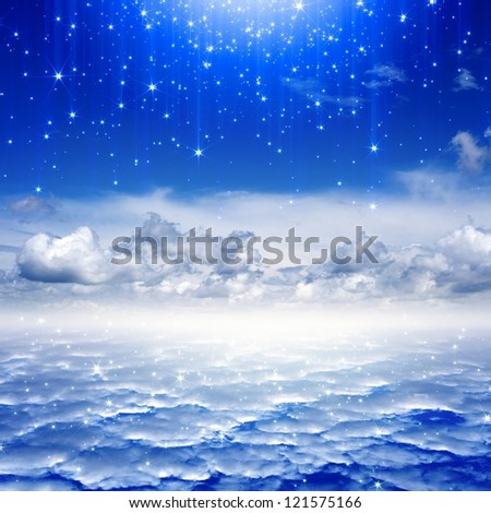 Peaceful background - blue sky, bright stars, heaven