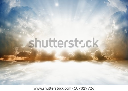 Peaceful background - bright sun shines, beautiful sky with reflection in water - heaven