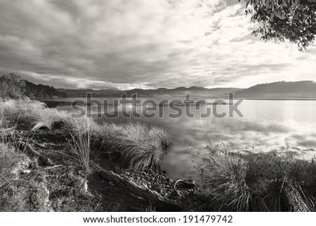 Peaceful black and white dusk scene - Tasmania, Australia