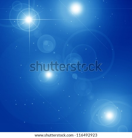 Peaceful blue sky filled with sparkling stars