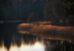 Peaceful evening landscape with a lake in early spring.