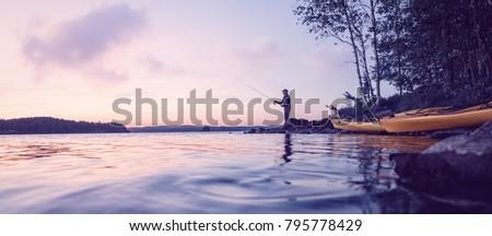 Peaceful fishing at a lake