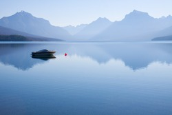 Peaceful landscape of  a power boat moored in the water