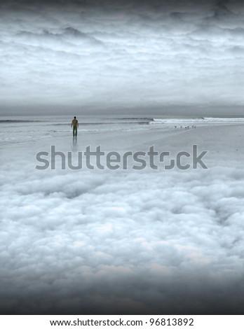 Peaceful man on beach