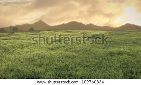 stock-photo-peaceful-meadow-at-sunset-sunrise-with-cloudy-sky-and-mountains-in-the-horizon-d-illustration-109760834.jpg