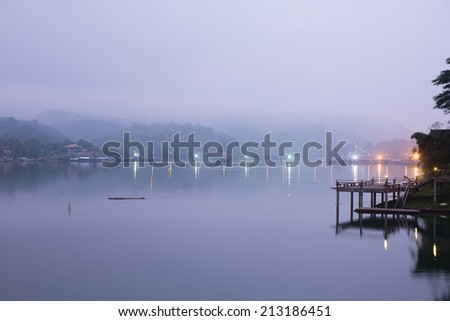 Peaceful morning along side river before sunrise in Thailand #213186451