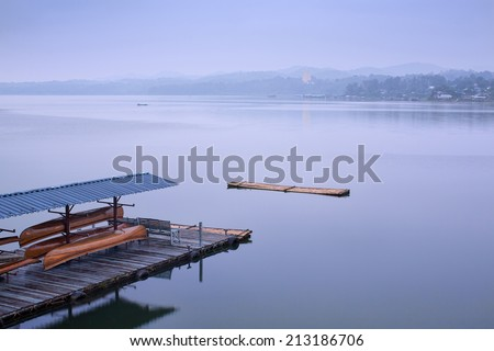 Peaceful morning along side river before sunrise in Thailand #213186706