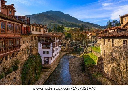 peaceful mountain village of potes, Cantabria spain  Foto stock ©