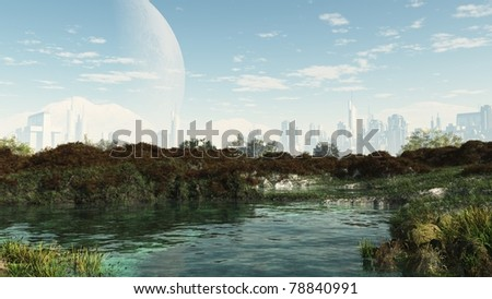Peaceful oasis in the centre of a futuristic sci-fi city, 3d digitally rendered illustration