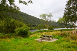 Peaceful picnic table area by the water