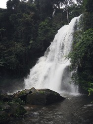 Peaceful,powerful waterfall in nature a beautiful wild ,green landscape scenery view of Chiang mai Thailand to relax,refreshing and soothing for yours eyes