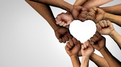 Peaceful Protest group and protester unity and diversity partnership as heart hands in a fist of diverse people together as a nonviolent resistance symbol of justice and fighting for a good cause.
