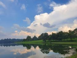 Peaceful Reflection Blue Sky Beautiful Cloud