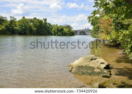 peaceful river bank #734420926