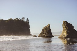 peaceful rocky shoreline views blue