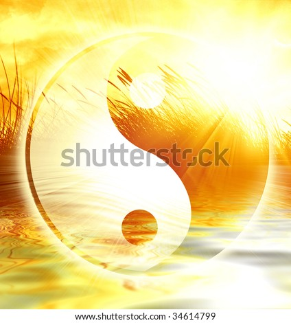 peaceful scene with the yin yang sign on it