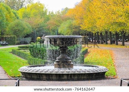 Peaceful scenery with fountain in regent's park of London