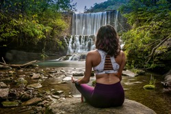 peaceful yoga, soothing sounds of streams and waterfalls at Mirror Lake Spillway
