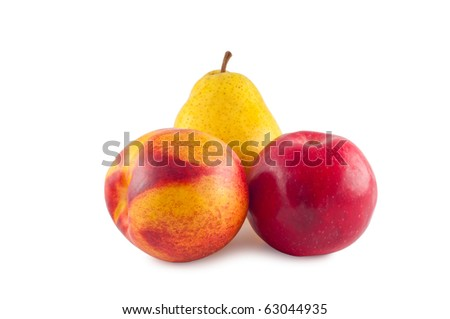 Peach apple pear isolated on white background.