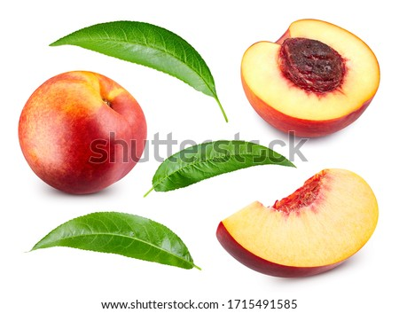 Peach collection. Nectarine fruit and half with leaf isolated on white background. Peach clipping path