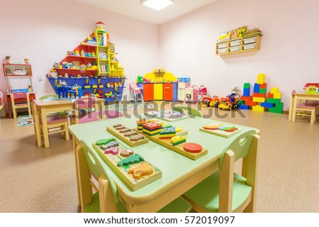 Peach colored game room in the kindergarten