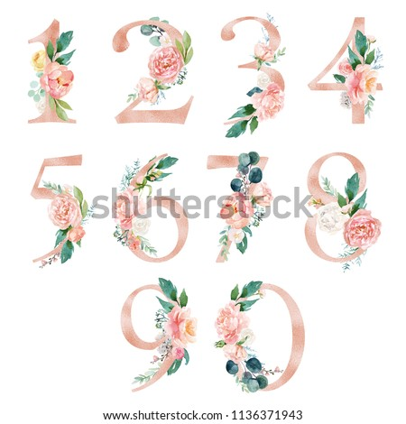 Peach cream / Blush Floral Number Set - digits 1, 2, 3, 4, 5, 6, 7, 8, 9, 0 with flowers bouquet composition. Unique collection for wedding invites decoration & other concept ideas.