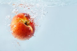 Peach falling into the water