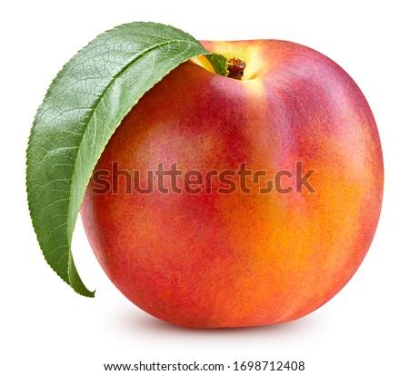 Peach. Fresh peach grapefruit isolated on white background. Peach macro