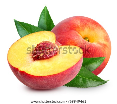 Peach fruit half with leaf isolated on white background