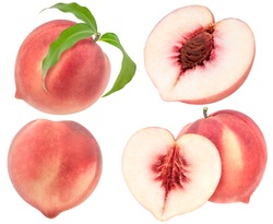 Peach fruit half with leaf isolated on white background, Fresh White Peach on White Background (With clipping path)