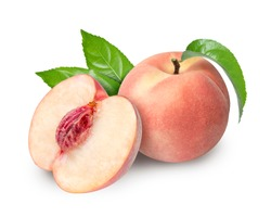 Peach fruit half with leaf isolated on white background,Fresh White Peach on White Background (With clipping path)