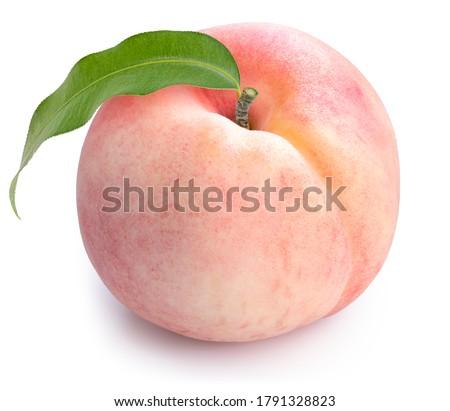 Peach fruit isolated on white background, Fresh Peach on White Background With clipping path,