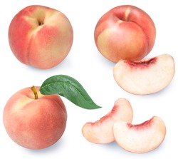 Peach fruit with leaf isolated on white background, Fresh Japan White Peach on White Background (With clipping path)
