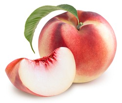 Peach fruit with leaf isolated on white background, Fresh Peach on White Background With clipping path,
