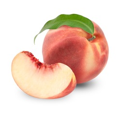 Peach fruit with leaf isolated on white background,Fresh White Peach on White Background Full depth of field. With clipping path.