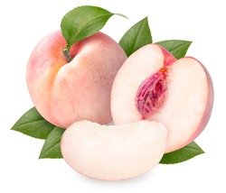 Peach fruit with leaves isolated on white background, Fresh Peach on White Background With clipping path,