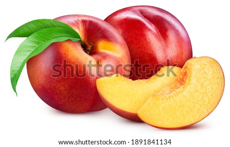 Peach fruit with mango leaf isolated on white background. Peach clipping path. Professional studio macro shooting