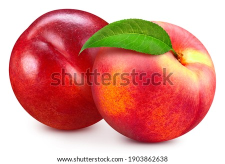 Peach fruit with peach leaf isolated on white background. Peach clipping path. Professional studio macro shooting