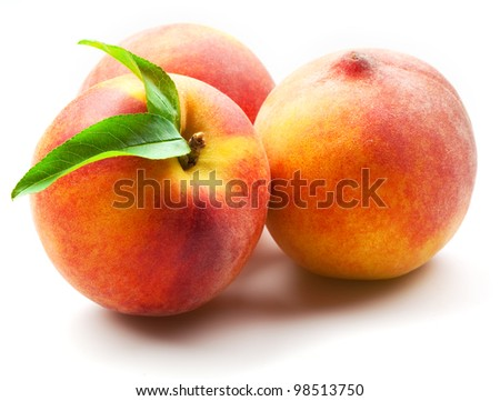 peach. fruits with leaves isolated on white - stock photo