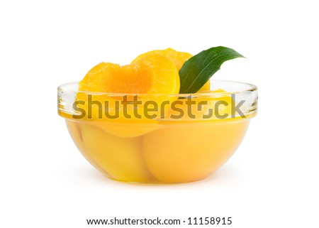 Peach halves in light syrup. Isolated on white