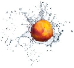 Peach in spray of water. Juicy peach with splash on white background