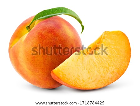 Peach isolate. Peach slice and whole with leaf on white. Peaches. Full depth of field.